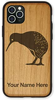Case Compatible with iPhone 11, Kiwi Bird, Personalized Engraving Included (Cherry Wood)