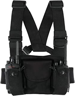 2 Way Radios Harness Chest Case with Front Pouches and Zipper Bag for Universal Walkie Talkies Accessories