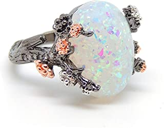 Ginger Lyne Collection Henrietta Elven Tree Branch Oval Purple Black or White Simulated Fire Opal Ring