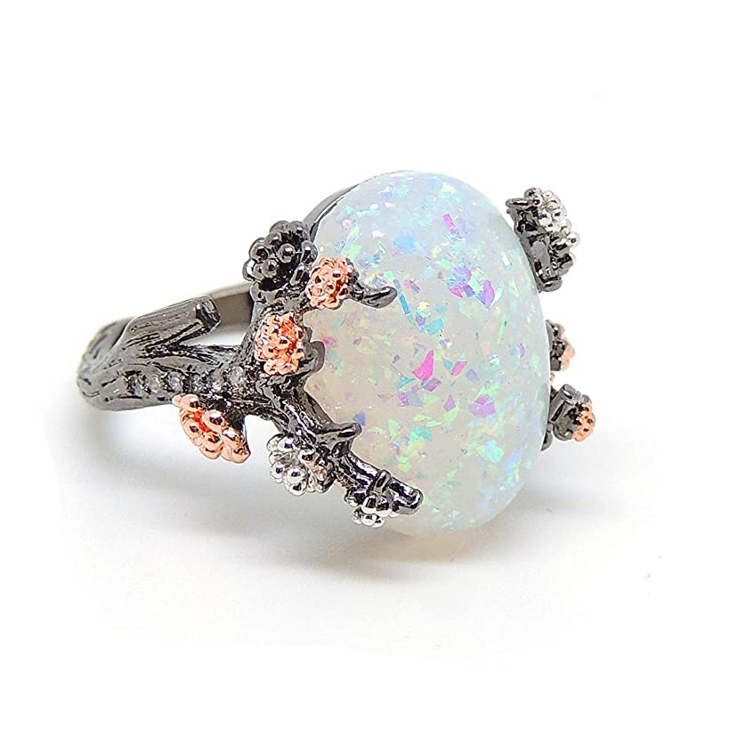 Ginger Lyne Collection Henrietta Elven Tree Branch Setting Oval Purple Black White or Green Simulated Fire Opal Ring