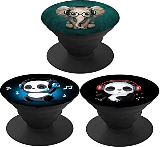 3 Pack/Collapsible Grip & Stand for Phones and Tablets - Elephant and Panda Listen to Music
