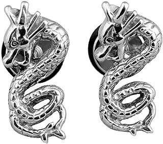 Fusamk Punk Rock Stainless Steel Animal Dragon Stud Earrings,2pcs
