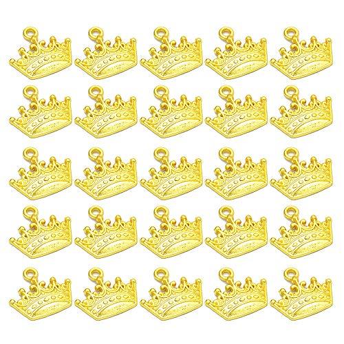 Nifocc Corona Charms Vintage Corona Colgante Pulsera Encantos para DIY Collar Pulsera Pendientes Joyería Fabricación DIY Artesanía Dangles - Oro 100 PCS