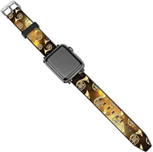 NiYoung Compatible with Apple Watch Band iWatch Series 5 4 3 2 1 for Women Men French Horns Musical Instrument Leather Watch Straps with Apple Watch Band