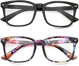 عینک مسدود کننده نور آبی 2 بسته ضد چشمی 2 بسته ضد سردرد UV مسدود کردن رایانه خواندن عینک بازی ، زن و مرد (سیاه و گل)
