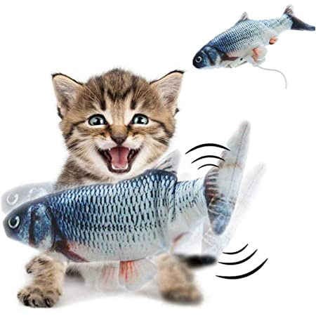 BROUYOUE Electric Moving Fish Cat Toy Realistic Flopping Wagging Fish Cat Toy Catnip Plush Simulation Kicker Toys Motion Kitten Toy Fun Toy for Cat Exercise Interactive