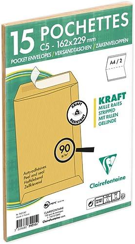 Clairefontaine 74215C - Un paquet de 15 pochettes en kraft milleraies brun auto-adhésives 16,2x22,9 cm 90g sous film