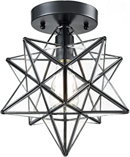 AXILAND Industrial Black Copper Moravian Star Ceiling Light 12-inch, Clear Glass Shade 1-Light Fixture