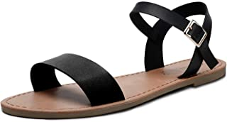 Women's Soft Faux Leather Open Toe and Ankle Strap Buckle Flat Sandals