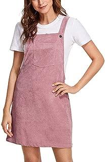 Women Suspender Dress A-Line Strap Corduroy Pinafore Mini Denim Overalls with Bib Pocket