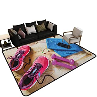 Carpet Next to The Sofa Fitness,Gymnasium Theme Womens Running Shoes and Dumbbells Equipment for Training Image, Multicolor