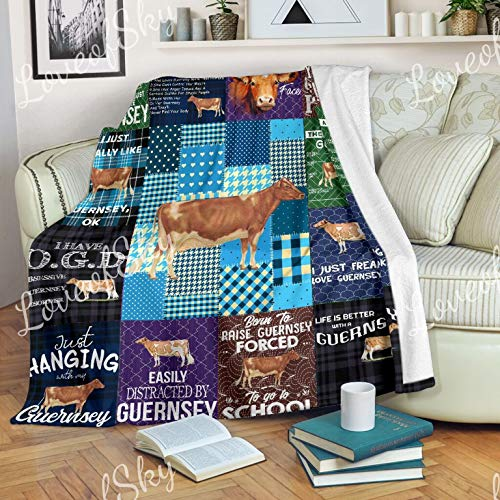 LoveofSky Just Hanging with My Guernsey Cow Blanket Queen Size - All Season Comforter with Cotton Quilts - Best Decorative Unique Banklet for Traveling, Picnics, Beach Trips, Gifts