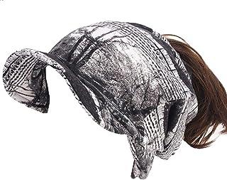 Ababalaya Womens Winter Warm Cashmere Print Bun Ponytail Hole Visor Beanies Skull Cap