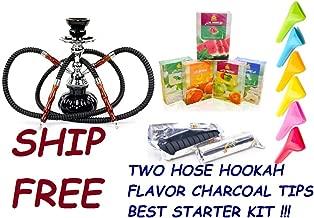 2 Hose Hookah Glass Water Pipe Vase Nargila with Charcoal, 50 gr Flavor,Tips Hookah Set