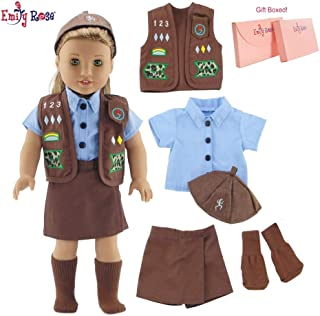 Emily Rose 18 Inch Doll Clothes for American Girl Dolls | Doll Brownie Girl Scout Modern 5 Piece Uniform Outfit with Skort! | Gift Boxed! | Fits 18