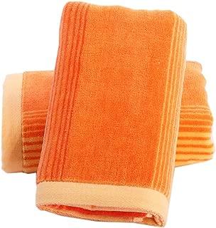 Pidada Hand Towels Set of 2 Striped Pattern 100% Cotton Soft Absorbent Towel for Bathroom 13.8 x 29.5 Inch (Orange)