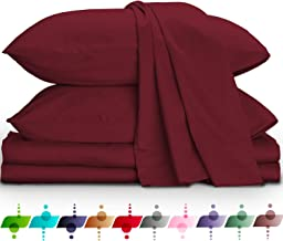URBANHUT Egyptian Cotton Sheets Set (4 Piece) 800 Thread Count - Bedspread Deep Pocket Premium Bedding Set, Luxury Bed Sheets for Hotel Collection Soft Sateen Weave (Queen, Burgundy)