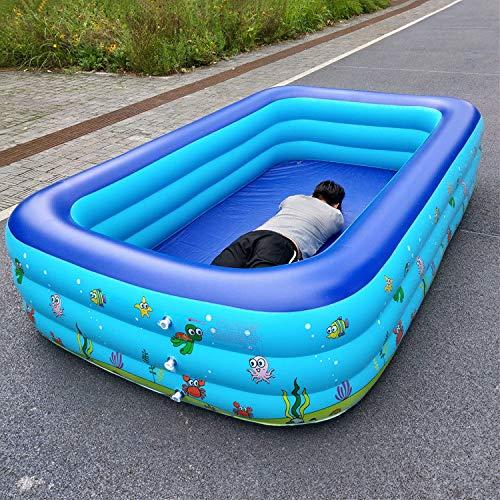ZHKGANG Piscina Piscina Infantil Infantil Piscina Infantil Exterior Inflable con Soporte De Asiento Piscina De Engrosamiento,Blue-180 * 140 * 60cm{3ring}