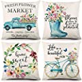 Liwoton Spring Pillow Covers 18x18 Inches Farmhouse Throw Pillowcase Blue Floral Decorative Linen Flower Market Cushion Case for Spring Home Decor Set of 4 from wingwin