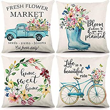 Liwoton Spring Pillow Covers 18x18 Inches Farmhouse Throw Pillowcase Blue Floral Decorative Linen Flower Market Cushion Case for Spring Home Decor Set of 4