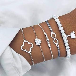Simsly Lot de 5 bracelets multicouches avec perles argentées - Accessoires de main porte-bonheur pour femmes et filles