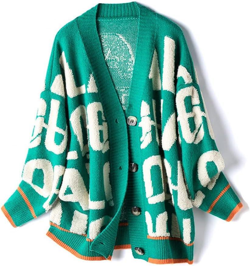 DJASM fzwt Sweater Fashionable Cardigans Long Award Sleeve Caridgan Letters Female