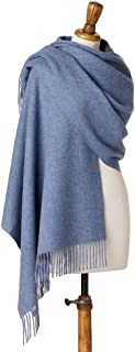 Women's Stole / Shawl - Merino Lambswool Wrap - Airforce Blue
