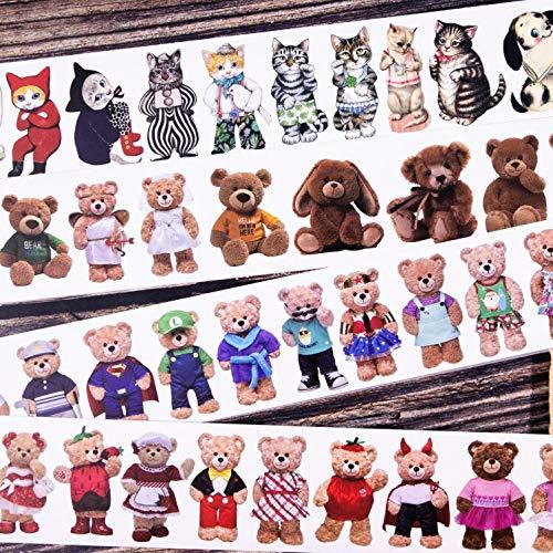 BLOUR 16pcs / Lot Plüschtier Serie Briefpapier Aufkleber Kreative Dekoration DIY geteiltes Outfit Klebeband Papier Maskierung Washi Aufkleber