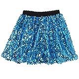 Flofallzique Blue Skirt for Girls Sequin Sparkle Kids Shorts Girls Clothes(6, Blue)