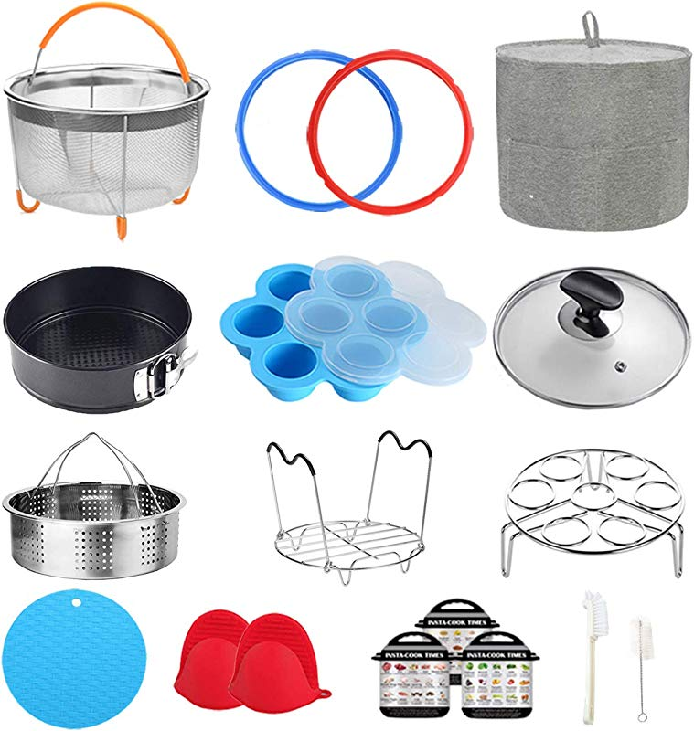 Pressure Cooker Accessories Compatible With Instant Pot 6 Qt Steamer Basket Dust Cover Glass Lid Silicone Sealing Rings Egg Bites Mold Springform Pan Egg Steamer Rack And More