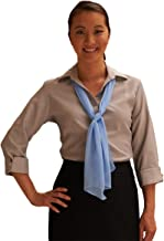 Edwards Garment Women's Open Collar Restaurant Narrow Placket Button Blouse