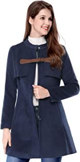 Allegra K Women Band Collar Buckle Fastening Worsted Caped Flare Coat