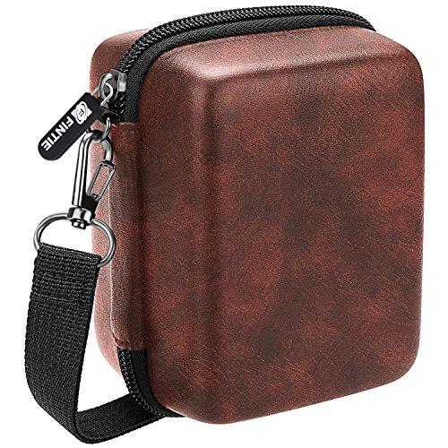 Fintie Carrying Case for Prynt Pocket Instant Photo Printer - Hard EVA Shockproof Storage Portable Travel Bag with Inner Pocket/Removable Strap, Vintage Brown