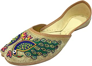 Women Indian Traditional Shoes Punjabi Jutti Mojari Khussa Peacock Joti