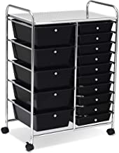 COSTWAYUS Plastic Boxes COSTWAY 15 Drawer Rolling Organizer Cart Utility Storage Tools Scrapbook Paper Multi-Use, Black