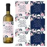 Weinflaschenetiketten für Brautjungfer, 7 Aufkleber, 2 Trauzeugen, 5 Brautjungfern, Blush und Marineblau