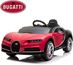 IKON MOTORSPORTS Licensed Bugatti Chiron 12V Kids Ride On Car with Remote Control, High Speed Motor, Matrix LED Headlight, Leather Seat, Openable Doors and Trunk -Red