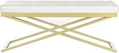 Safavieh Home Collection Acra Modern Glam White Croc and Gold Bench
