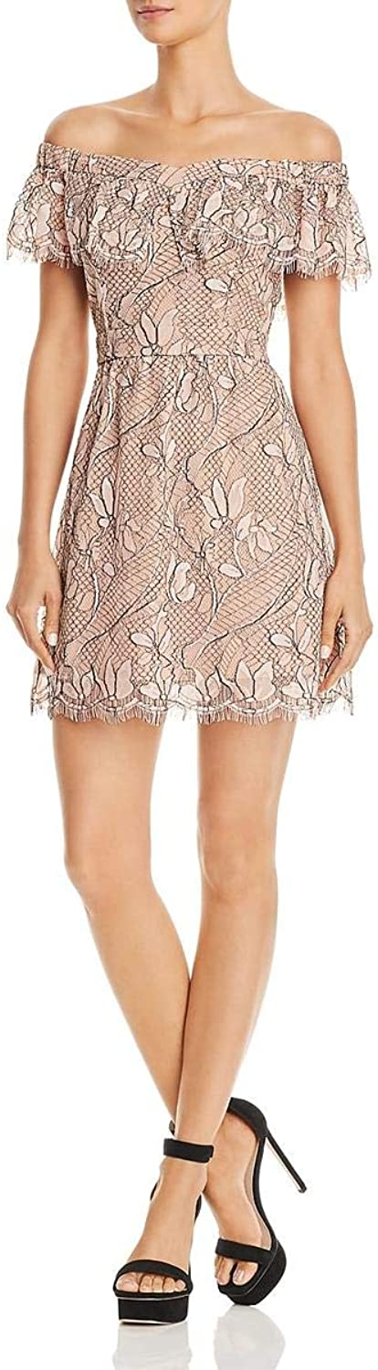 WAYF Womens Lace Scalloped Mini Dress