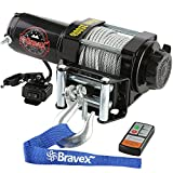 Bravex Electric 12V 3500lb/1591kg Single Line Waterproof Winch for UTV ATV Boat with Both ...