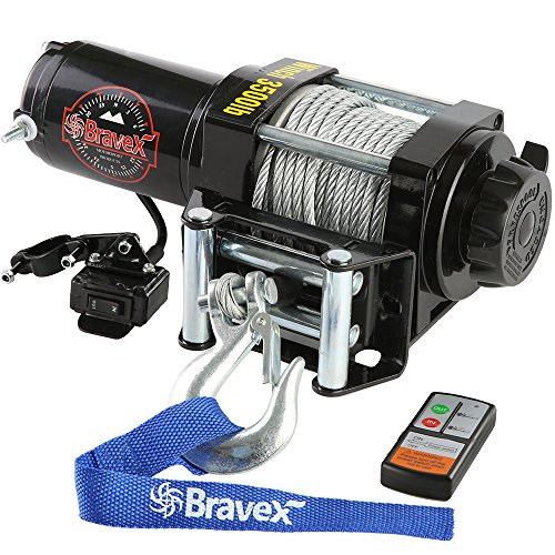Find Discount Bravex Electric 12V 3500lb/1591kg Single Line Waterproof Winch for UTV ATV Boat with B...