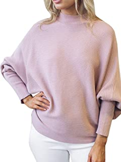 Womens Batwing Sleeve Pullovers Loose Baggy Turtleneck Ribbed Knit Sweaters Fall Jumper Dolman Top