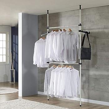 Adjustable Telescopic Wardrobe Organiser Storage Clothes Hanging Rail Rack DIY