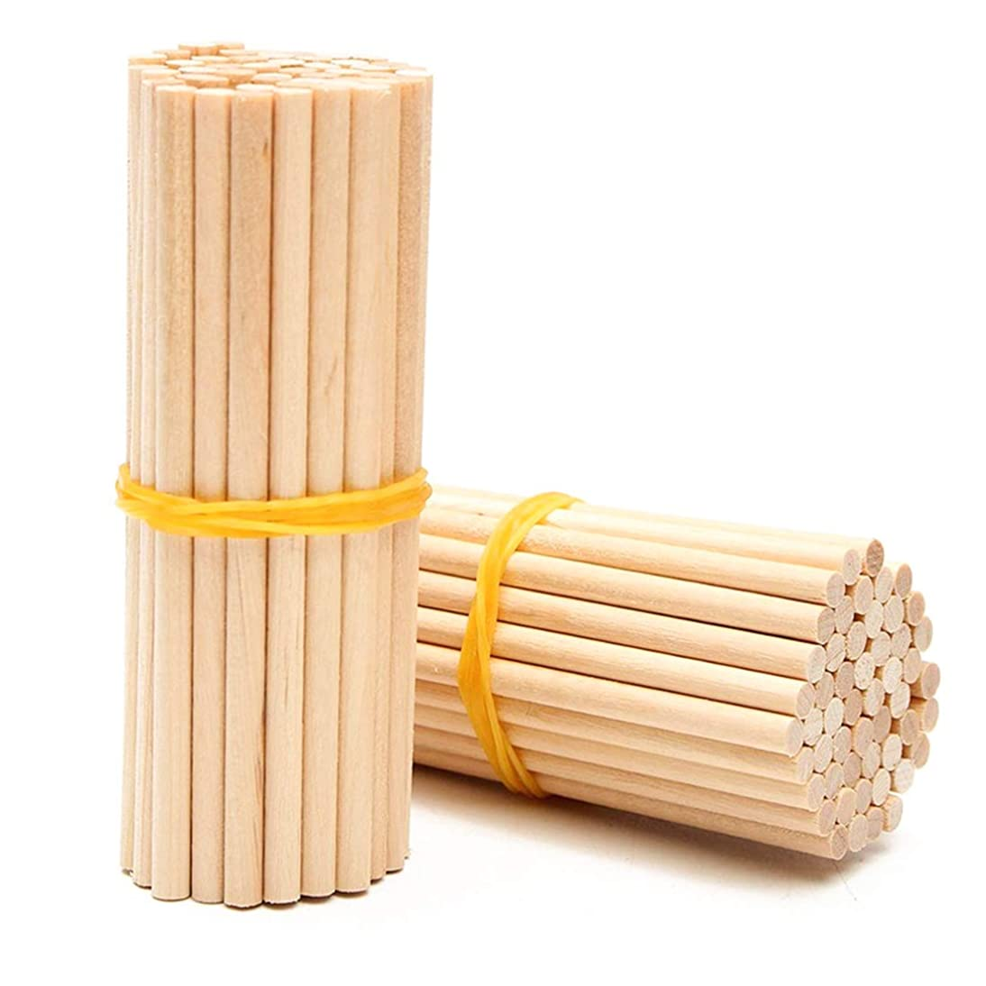 Dowel Rods 100 Pieces Natural Bamboo Unfinished Dowel Rods Craft Sticks for DIY Crafts Model Projects Making Building Woodcraft Woodworking Kids Educational Toys - 200mm, Diameter 4mm (6mm)
