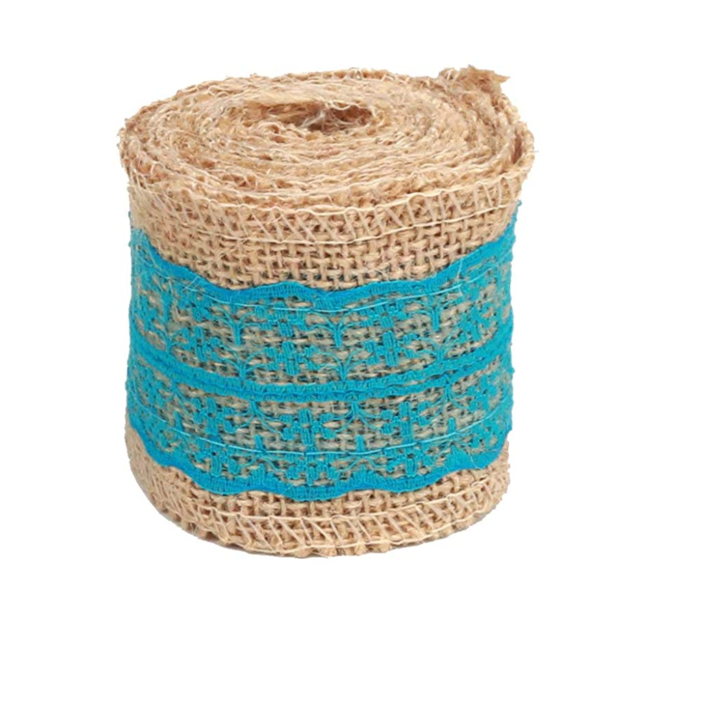 Z-COLOR 2M DIY Cotton Lace Ribbon Sewing Tape Natural Jute Roll Multifunctional Burlap Trims Tape Rustic Wedding Party Decor Craft Tool (Blue)