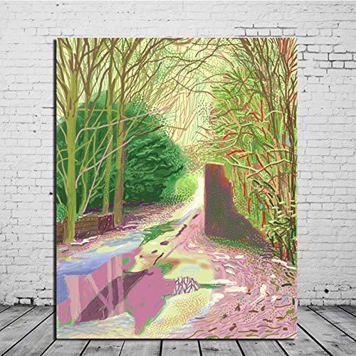 KWzEQ Frühlingswandkunst Leinwand Ölgemälde Poster drucken Moderne Bilder für Wohnzimmer Wohnkultur Kunst,Rahmenlose Malerei,60x75cm