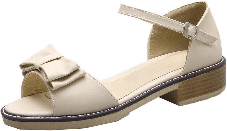 WeenFashion Women's Pu Low-Heels Buckle Open-Toe Sandals, CA18LB04778