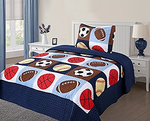 Twin Size 2 Pcs Quilt Bedspread Set Kids Sports Basketball Football Baseball Boys Girls