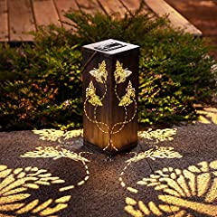 🌞3-IN-1 Solar lantern: This butterfly garden solar lights decor can be used as tree lights, art clearance lights,front & back porch decor or as outdoor table lamp, or simply install the stake to the lantern and put in your lawn. The warm light will c...
