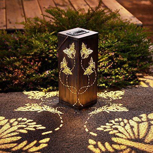 Lanterna a energia solare, per esterni, giardino, patio, sentiero, paesaggio, decorazione a farfalla, lanterne da appendere, impermeabile, per esterni, sentieri, marciapiedi, cortile, confezione da 2